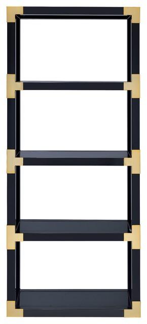 Lalfy Etagere Bookcase, Gold & Black.