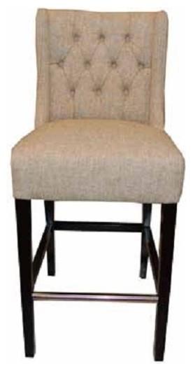 Wing Back Fabric Stool Tan Counter Seat Height modern bar