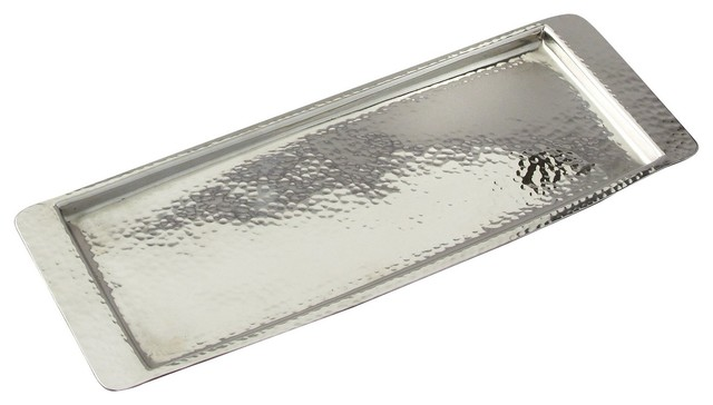 Elegance Stainless Steel Hammered Rectangular Tray 13 75 Quot L