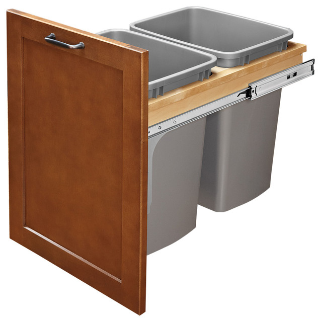 Pull Out Top Mount Wood Silver Waste Container Ball