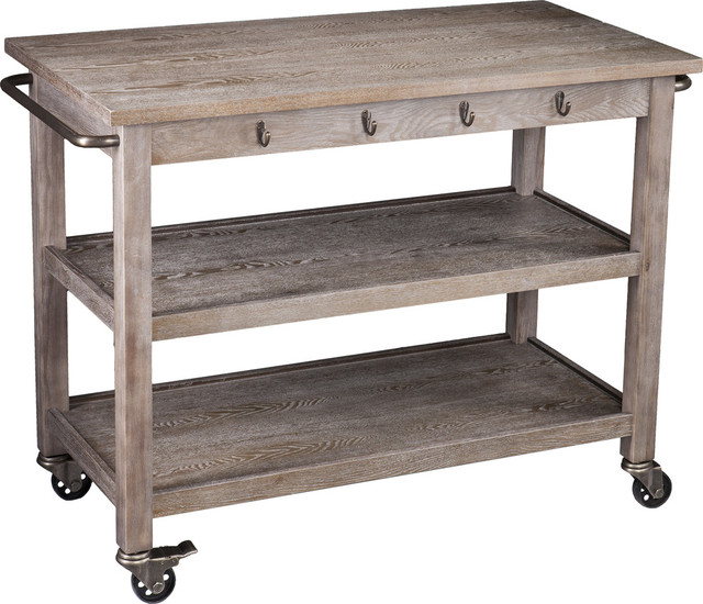 Dontos Industrial Kitchen Cart, White-Washed Burnt Oak With Dark Antique Bronze.