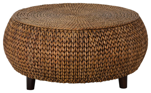 Bali Breeze Low Round Accent Table, Gold Patina Tropical Coffee Tables
