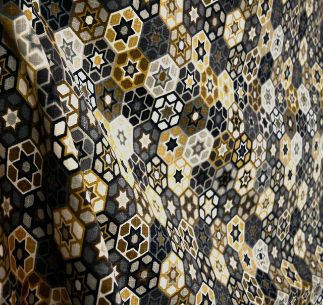 Microfibers Black Grey Brown And Gold Geometric Contemporary Fabric View In Your Room Houzz