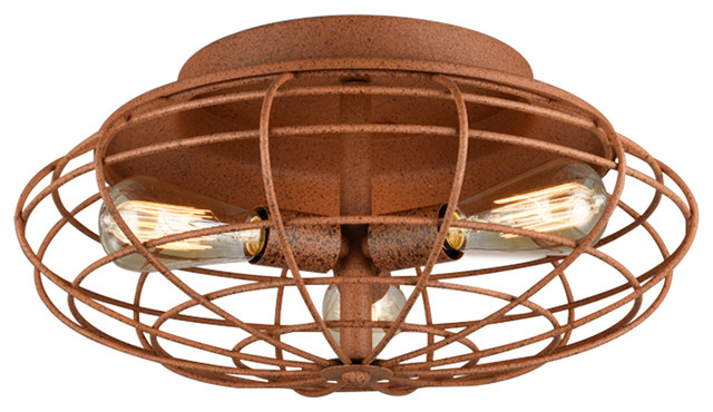 Azranna Speckled Copper Cage Ceiling Lamp With Bulbs.