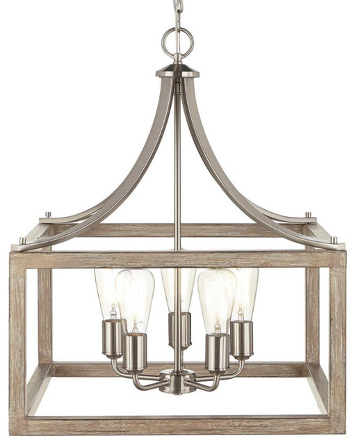 5-Light Brushed Nickel Chandelier with Painted Weathered Gray Wood Accents
