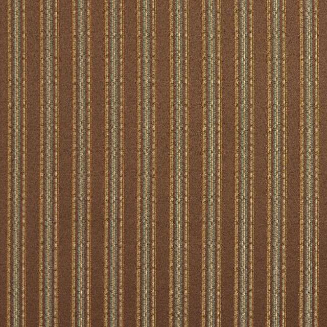 Striped Brown, Green And Gold Damask Upholstery And Drapery Fabric By The Yard