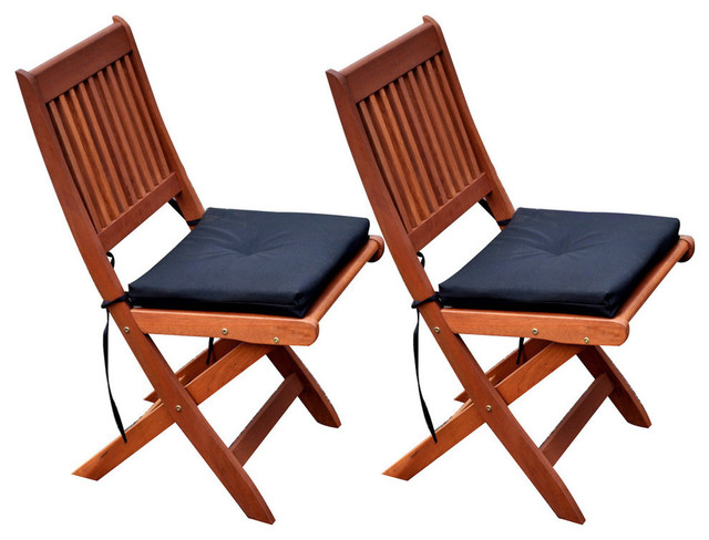 Corliving Miramar Cinnamon Brown Hardwood Outdoor Folding Chairs, Set Of 2.