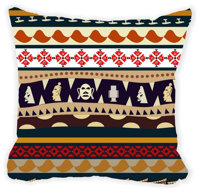 Brown Microfiber Throw Pillows : Rikki Knight LLC - Tribal Masks Pattern Brown White and Orange Microfiber Throw Pillow & Reviews ...