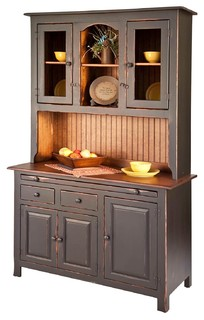 Pine Colonial Hoosier Hutch, Amish Handcrafted, Black ...