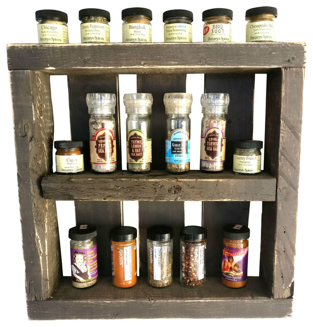 Woodworking Plans For Kitchen Spice Rack: Roman Reclamation Reclaimed Wood Spice Rack, Dark Wood