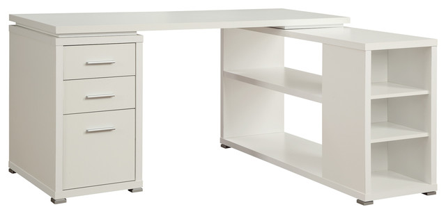 L Shaped Corner Writing Desk With 3 Drawers Shelves White