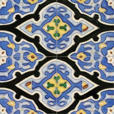"Vereda 6"" x 6"" Blue 6"" x 6"" Deco Tiles Glossy Ceramic"