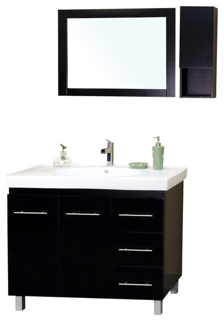 39 Quot Single Sink Bathroom Vanity Solid Wood Black Right Side Drawers Contemporary Bathroom