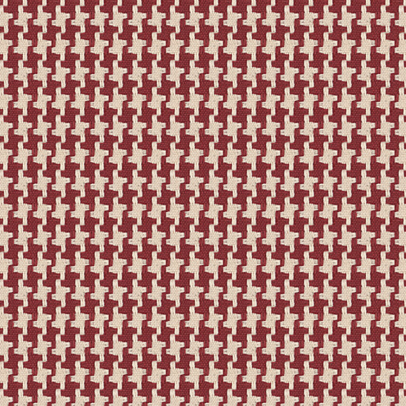 Red Handwoven Houndstooth Fabric Traditional Drapery