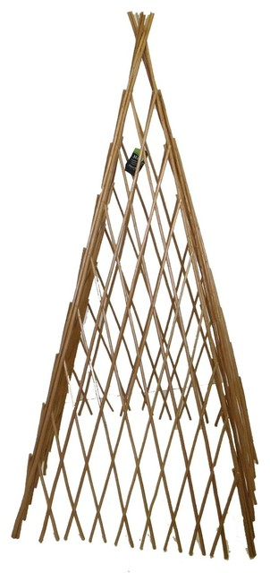 """Barkless Carbonized Willow Expandable Teepee, 24""""l X 60""""h."""