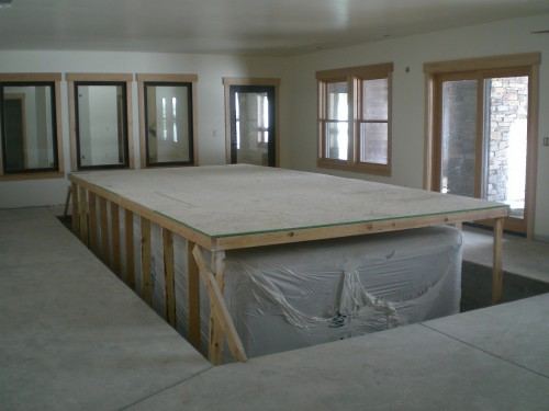 New home indoor cal swim spa in a daylight basement i for Daylight basement windows