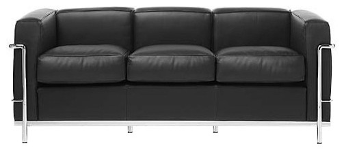 Le Corbusier LC2 Petit Sofa Italian Leather, Black Italian Leather