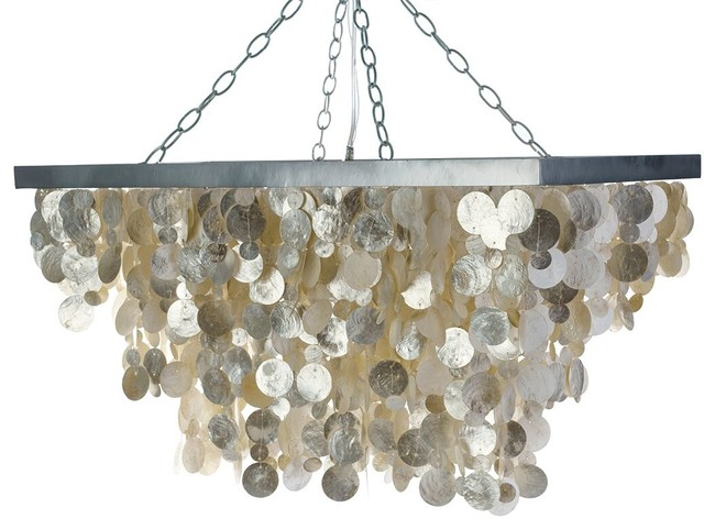 Rectangular Capiz Seashell Rain Drop Pendant Lamp, Champagne.