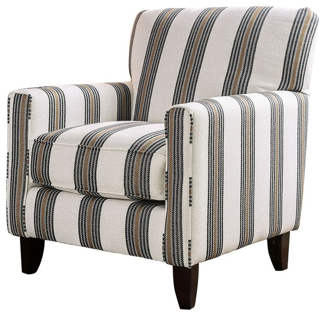 Contemporary Style Wooden Sofa Chair With Printed Stripe Pattern, Multicolor