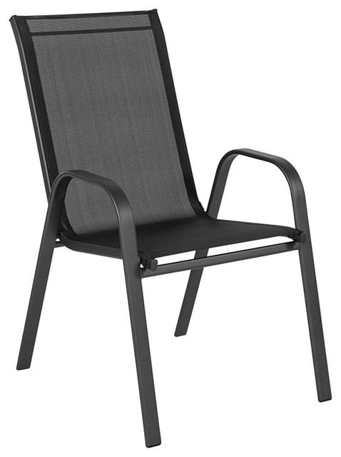 Miraculous Flash Brazos Series Outdoor Stack Chair With Flex Comfort Material Black Machost Co Dining Chair Design Ideas Machostcouk