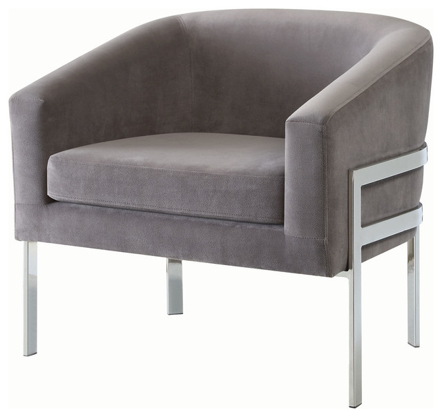 Accent Barrel Back Arm Chair With Chrome Base Gray Velvet  sc 1 st  Houzz & Accent Chair Linen-Like Fabric With Exposed Metal Frame ...