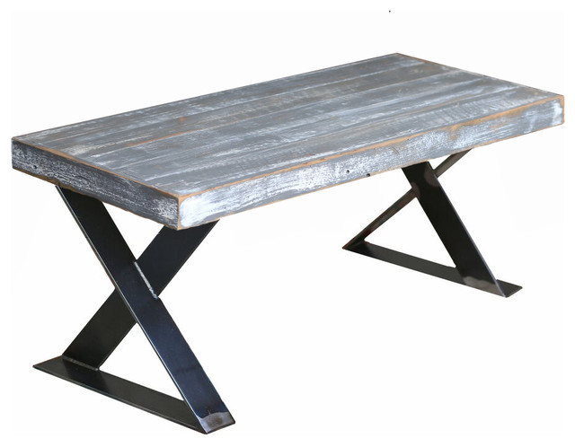 Weathered Gray Industrial X Leg Coffee Table.