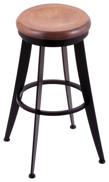 "Laser 30"" Swivel Bar Stool, Black Wrinkle Finish, Medium Maple Seat"