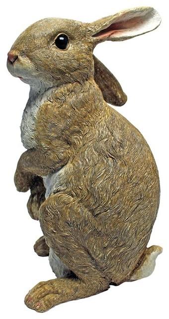 hopper the bunny standing garden rabbit statue - farmhouse - garden statues and yard art
