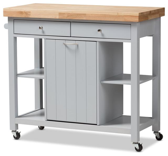 hayward coastal and farmhouse light gray wood kitchen cart
