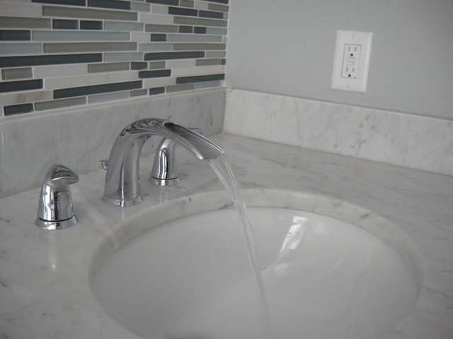 Grey Bathroom With Mosaic Tile And Marble Contemporary