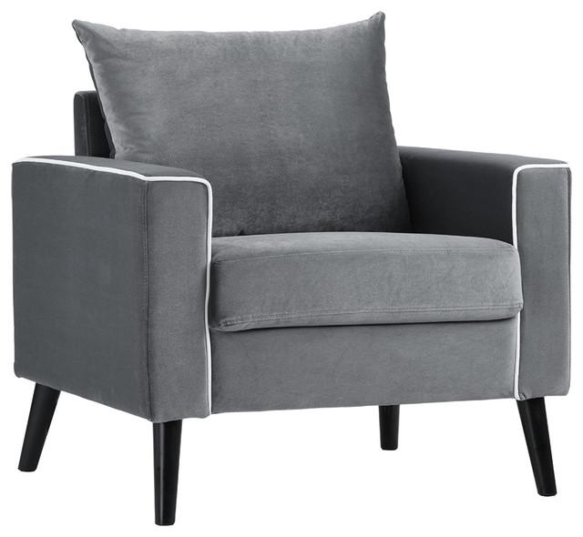 Mid Century Modern Velvet Fabric Armchair Living Room Accent Chair