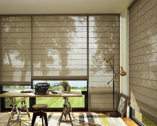 Home Office   Mid Sized Modern Freestanding Desk Light Wood Floor And Beige  Floor Home