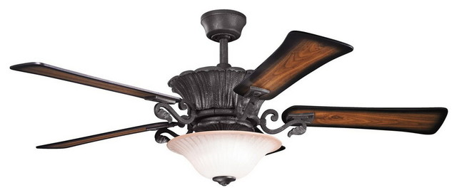 Wind pass ceiling fan with light kit and remote distressed black 56 victorian ceiling - Victorian ceiling fans with lights ...