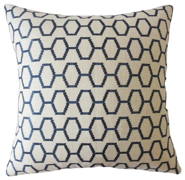 Waldemar Geometric Throw Throw Pillow, Navy, 22x22.