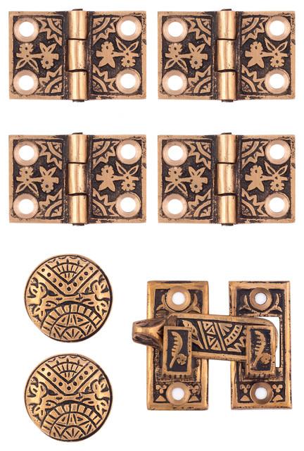 Nice Oriental Interior Shutter Hardware Set, Polished Bronze