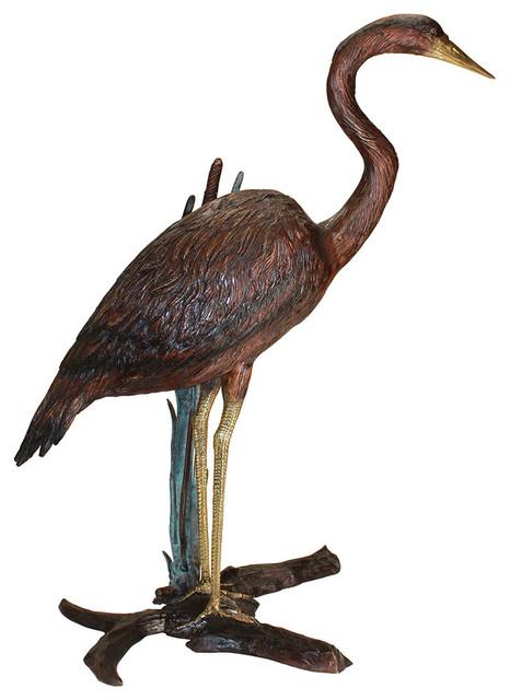 Standing Heron in Reeds Cast Bronze Garden Statue Beach Style