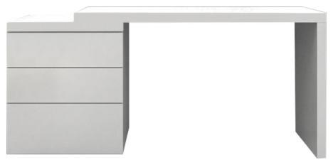 Casabianca Home Nest High Gloss White Lacquer Extendable Office Desk