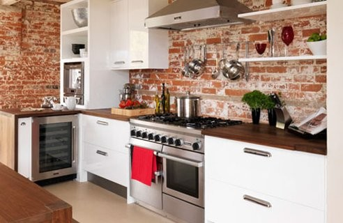 Red Brick Wallpaper In Kitchen Traditional Kitchen Houston