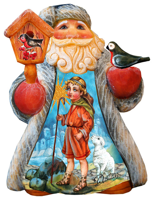 Hand Painted Mini Tale Scenic Santa With Snow Maiden Figurine.