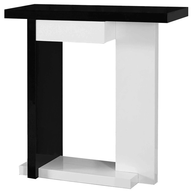 Accent Table 32 L Glossy White Black Hall Console