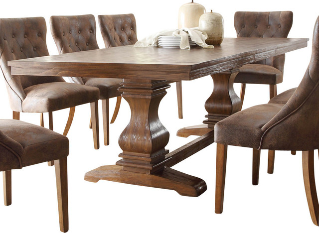 Marie Louise Double Pedestal Dining Table, Rustic Brown Traditional Dining  Tables