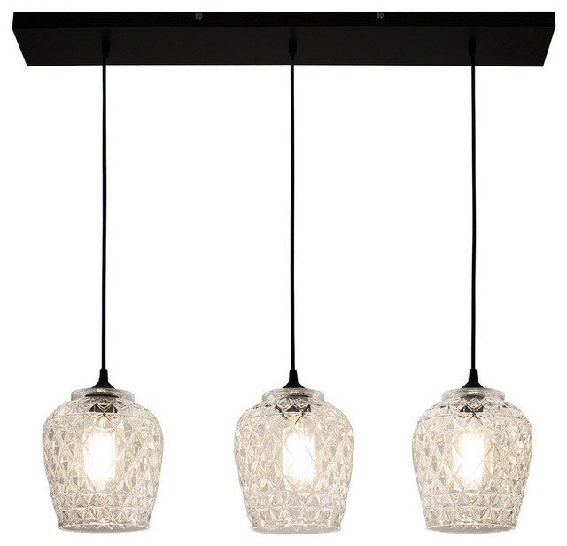 Bazz Textured Glass Shade Tripple Pendant.