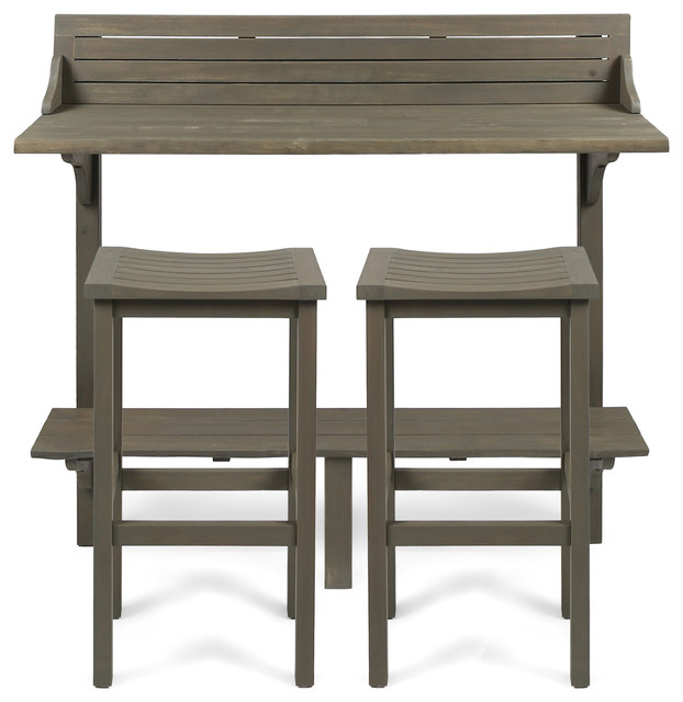 Cassie Outdoor 3-Piece Acacia Wood Balcony Bar Set, Gray Finish.