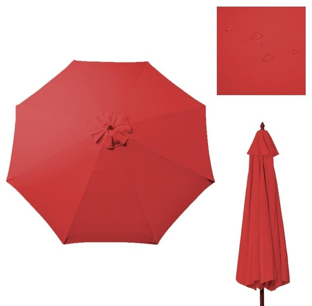 Outdoor 9 Ft Patio Umbrella Cover Canopy Replacement Top For 8 Ribs, Red  Contemporary