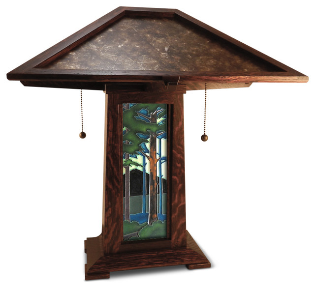 Great Schlabaugh U0026 Sons Soilid Oak Craftsman Lamp With Motawi Tile Craftsman Table  Lamps