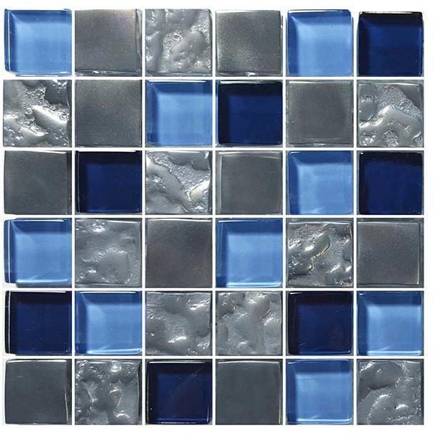 "12""x12"" Glass Tile Blends Titanium Series, Blue"