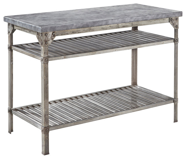 urban metal kitchen island - industrial - kitchen islands and