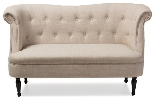 Baxton Studio Upholstered Button Tufted 2 Seat Loveseat
