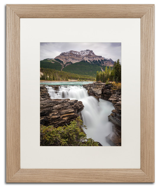 Pierre Leclerc &x27;athabasca Falls&x27; Matted Framed Art, Birch Frame, White, 20x16.