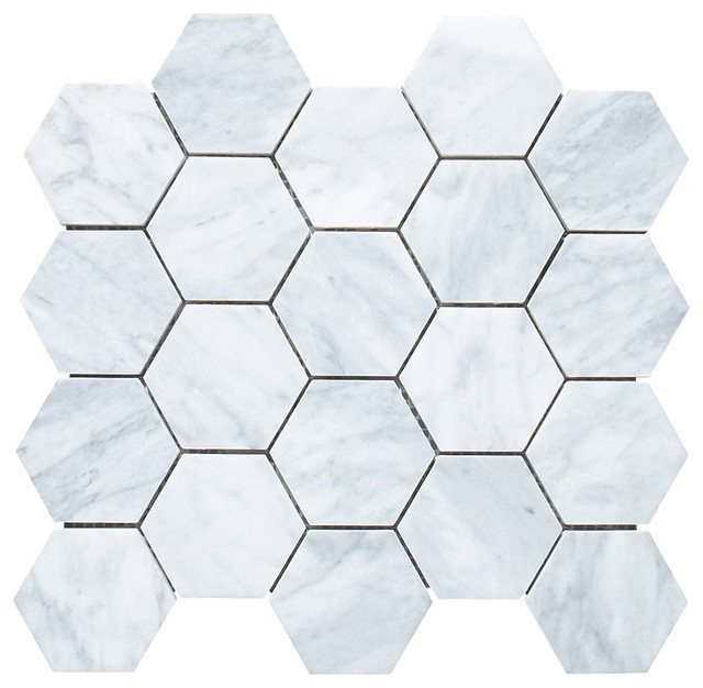"12.25""x10.75"" Carrara White Hexagon Mosaic Tile Honed, Chip Size 3"""